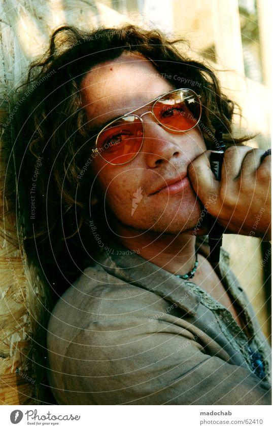 POET | portrait male man hippie festival boy dream type single Portrait photograph Man Sunglasses Hippie Freak Dreamily Hand Long-haired Dirty Looking