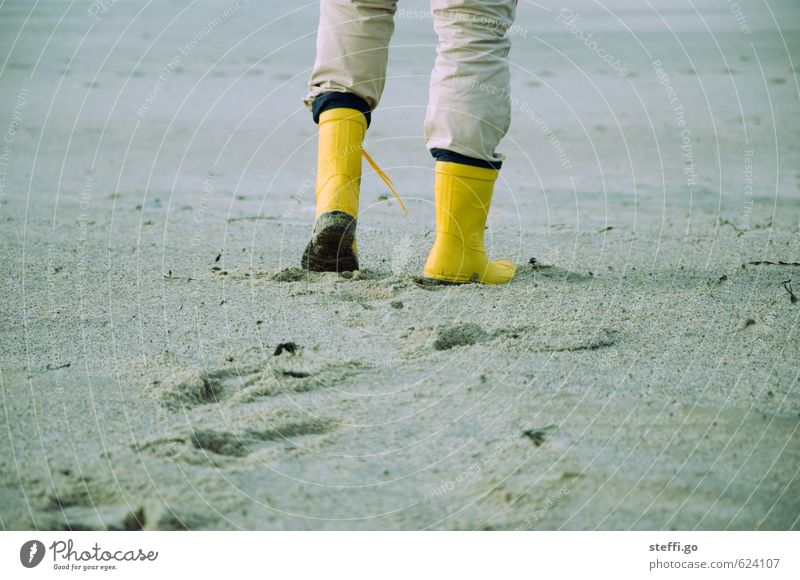 Youth (Young adults) Vacation & Travel Man Ocean Winter Beach Far-off places Young man Yellow Adults Autumn Coast Freedom Sand Going Legs
