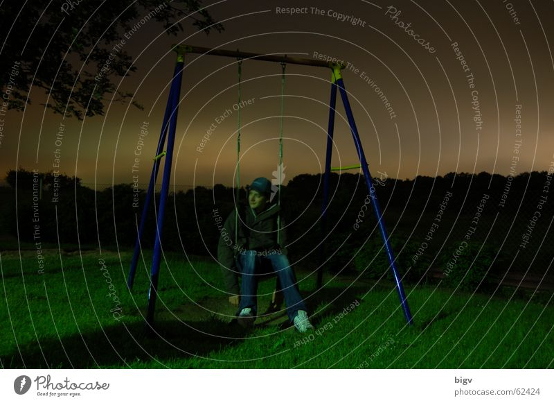 At night all swings are grey Night Playground Swing Freeze Gray Calm Long exposure Sit