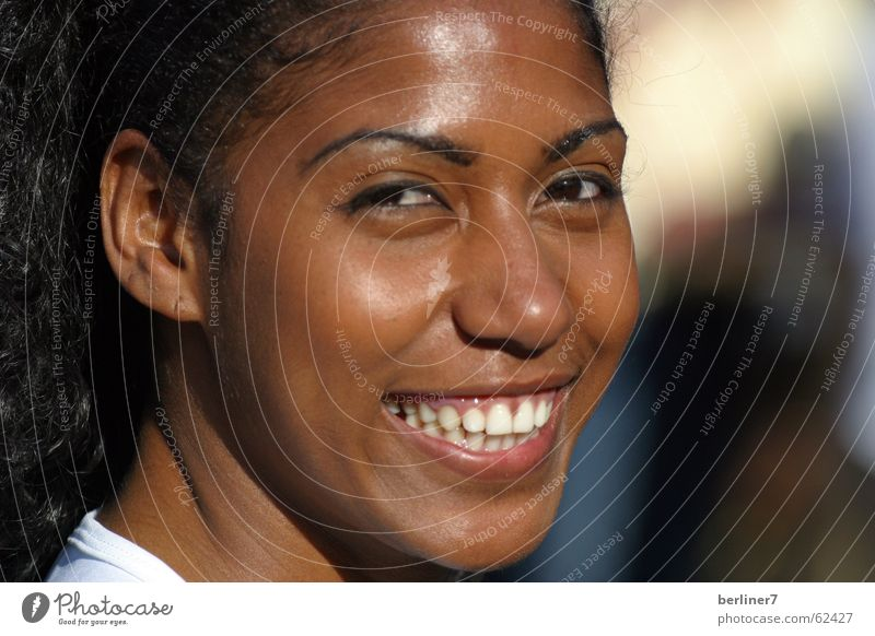 Smile for Brazil Woman White Portrait photograph Complexion World Cup Laughter Funny Eyes duskier likeable Warmth Teeth