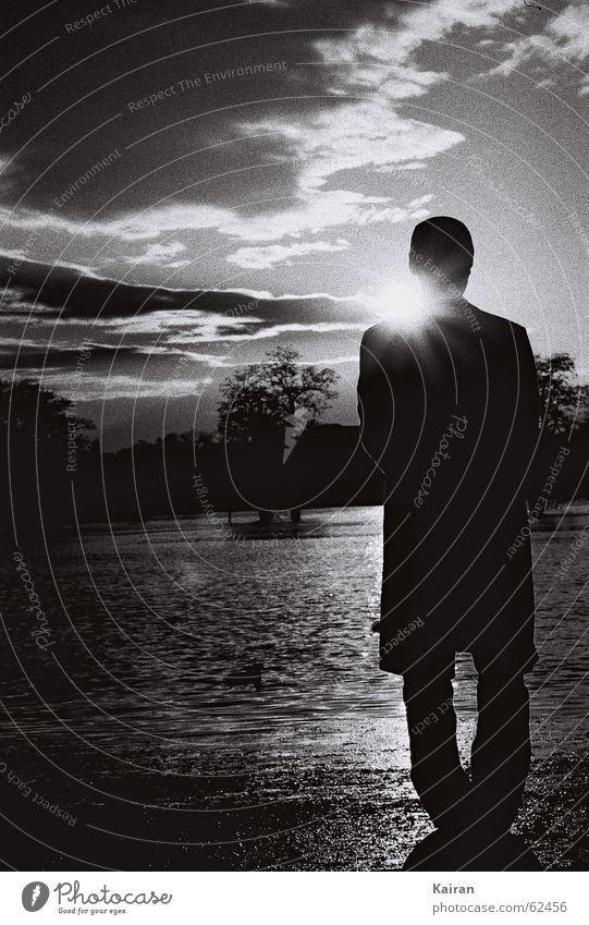 Human being Man Water Sun Duck Elbe Flood