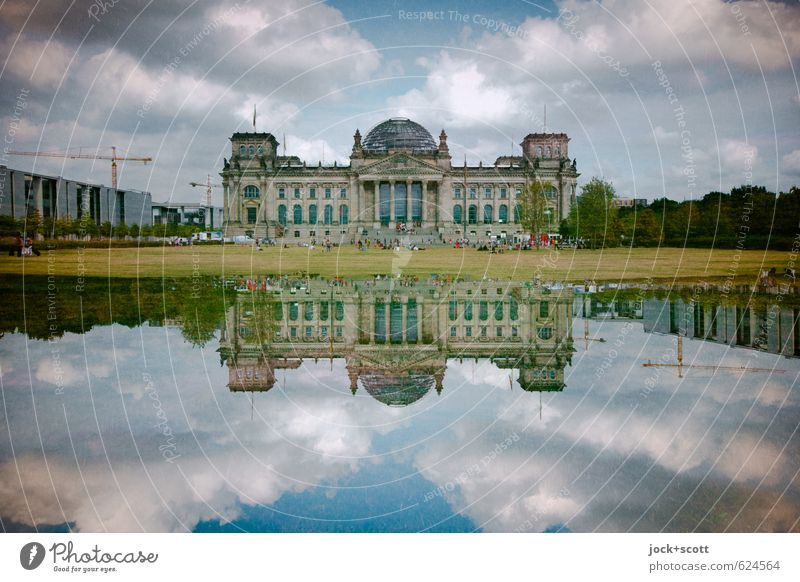 double date on the Reichstag Clouds Berlin zoo Capital city Tourist Attraction Landmark Historic Might Agreed Politics and state Surrealism Irritation Reaction