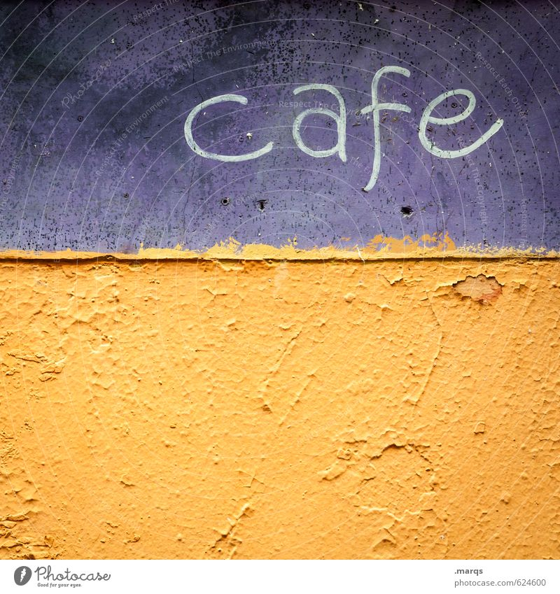 cafe Coffee Lifestyle Wall (barrier) Wall (building) Characters Simple Retro Beautiful Violet Orange Relaxation Colour Break Colour photo Exterior shot Close-up