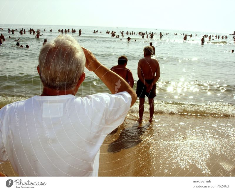 Human being Sky Man Hand Blue White Sun Vacation & Travel Ocean Summer Beach Loneliness Far-off places Senior citizen Gray Style