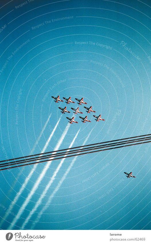 flight Aerobatics Formation Airplane Vapor trail Grading Jet Flying