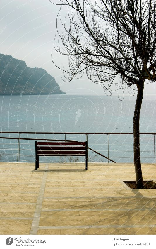 lonely look Ocean Vantage point Yellow Exterior shot Majorca Balearic Islands Loneliness Far-off places Bench Baun promeande Blue Stone Handrail Shadow