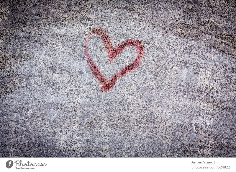 Scraped Graffiti Heart Wall (barrier) Wall (building) Facade Stone Love Old Dirty Retro Trashy Gray Red Emotions Background picture Grunge Archaic