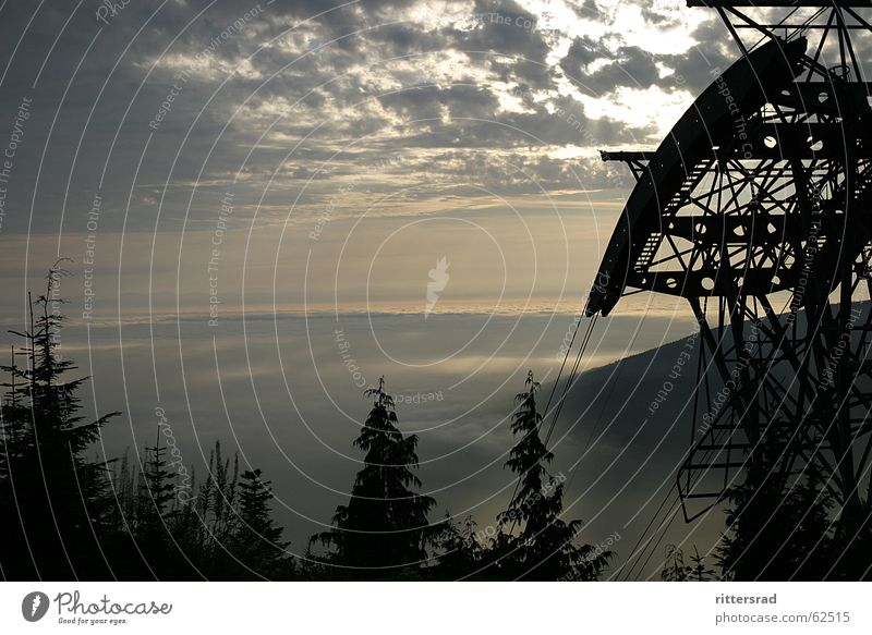 Sky Calm Far-off places Forest Mountain Fog Technology Steel Canada Cable car Rocky Mountains
