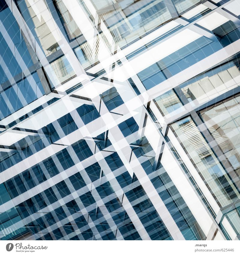 Double Elegant Style Design Manmade structures Facade Glass Metal Line Esthetic Modern New Blue White Arrangement Perspective Future Double exposure