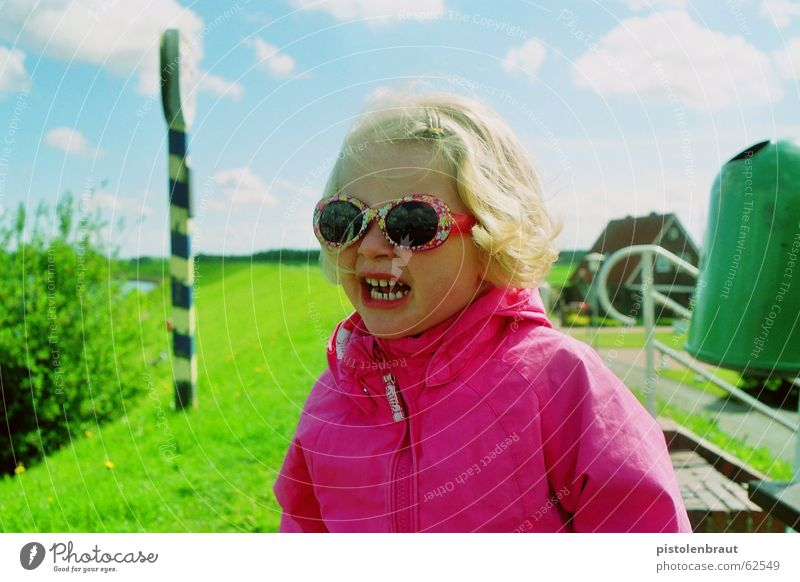 material: child Eyeglasses Green Pink Clouds Landscape Blue Signs and labeling Rose glasses Girl 3 - 8 years Blonde Sunglasses Portrait photograph Dike