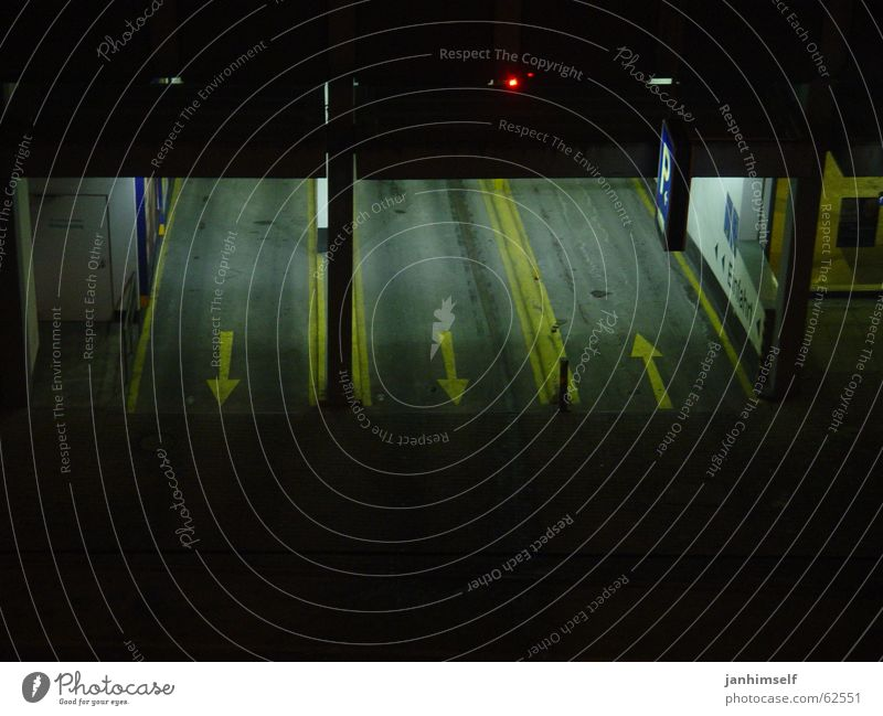 Coming and going Parking garage Direction Pure Night Light Tunnel Arrow Exterior shot