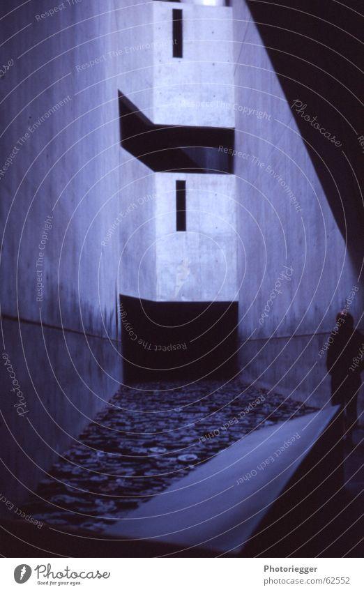 Human being Blue Berlin Window Gray Room Art Concrete Perspective Slit Interior courtyard Iron plate