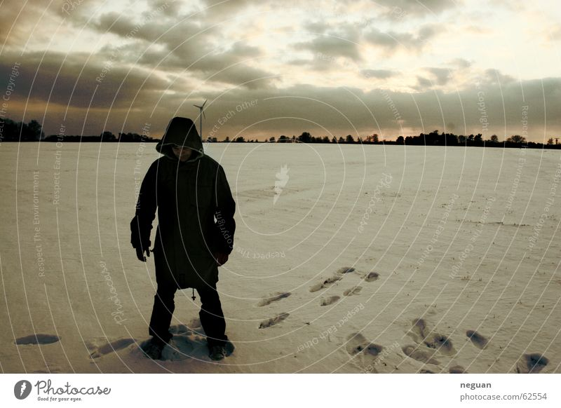 Human being Winter Clouds Loneliness Snow Landscape Tracks Jacket
