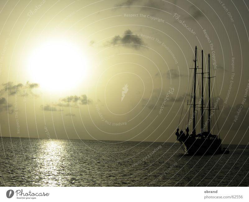sundowner Sailing ship Exterior shot sunset sailing ship longing romatics