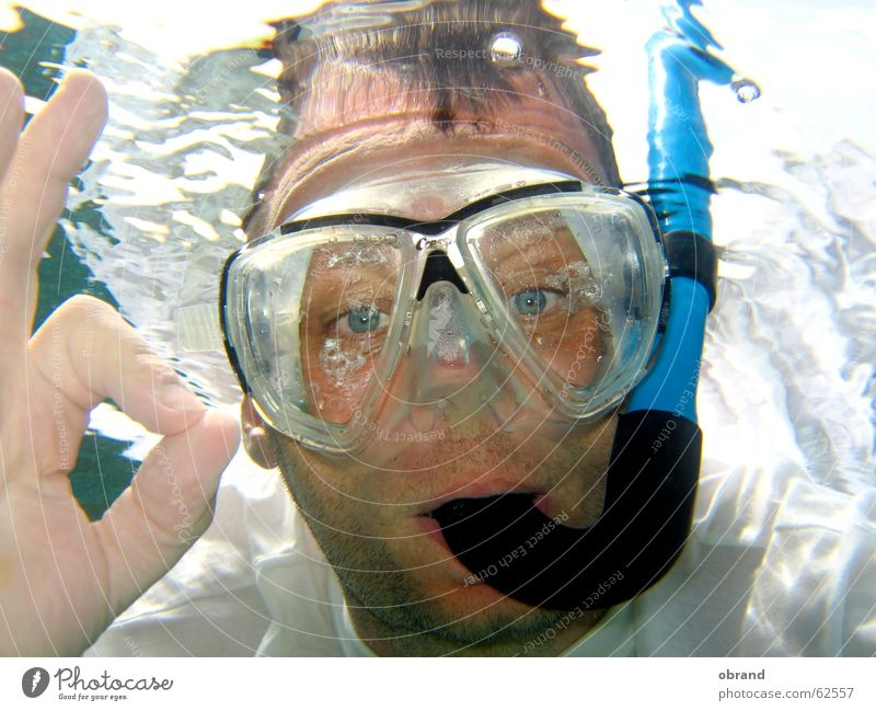 Everything's OK! Diving equipment Diving goggles Gesture man with diving mask Underwater photo everything ok