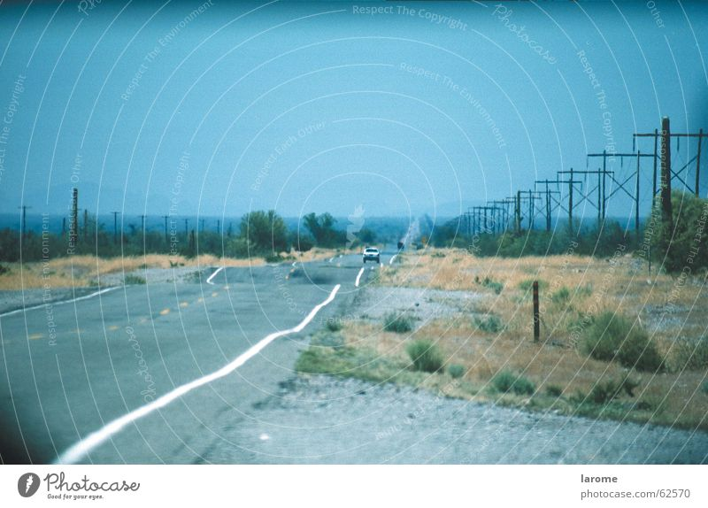 Far-off places Street USA Level Highway Electricity pylon Undulating Mid-West