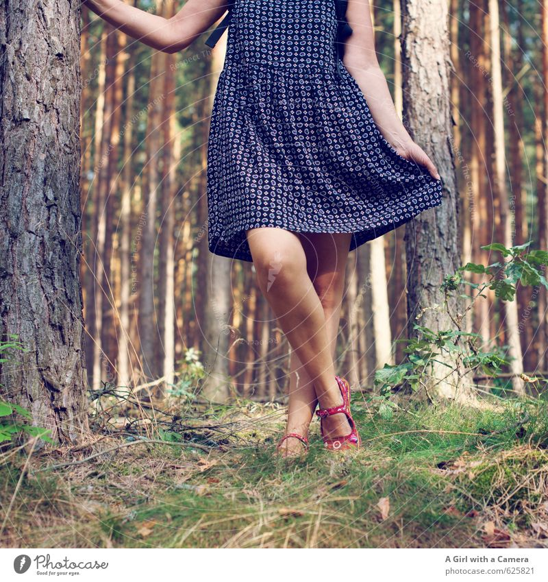 cabbage rammer Human being Feminine Woman Adults Legs 1 30 - 45 years Multicoloured Easy Dress Summer dress Summery Forest Playing Dance Movement