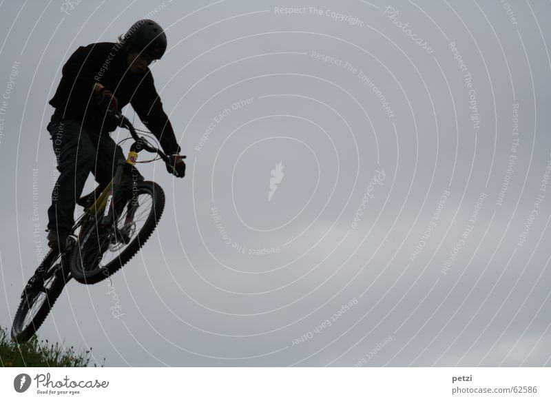 More beautiful than flying II Joy Freedom Bicycle Air Sky Clouds Bad weather Wind Helmet Jump Dark Concentrate Mountain bike Steep mountenbiken Steering