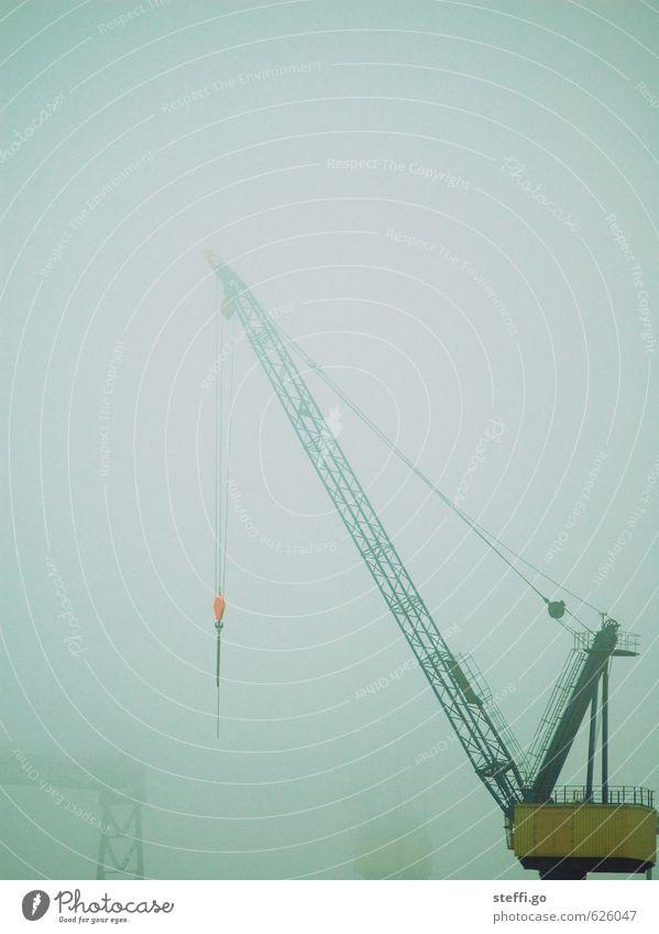 foggy crane Bad weather Fog Rain Hamburg Deserted Industrial plant Logistics Harbour Threat Dark Dockside crane Crane Strong Industrial Photography Loneliness