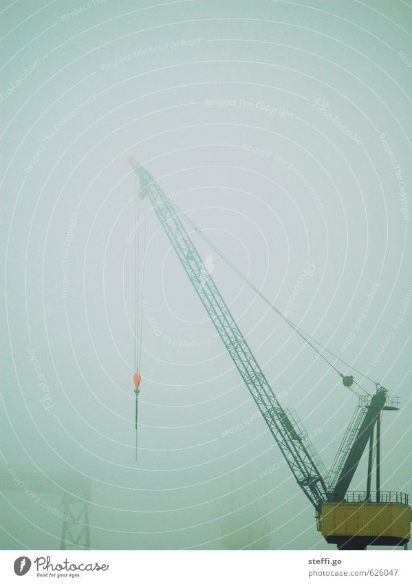 Loneliness Dark Work and employment Rain Fog Threat Hamburg Logistics Harbour Industrial Photography Strong Haze Crane Workplace Industrial plant Bad weather