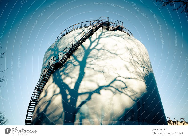 natural re-filling Technology Energy industry Renewable energy Solar Power Tank Cloudless sky Winter Beautiful weather Tree Treptow Stairs Line Illuminate