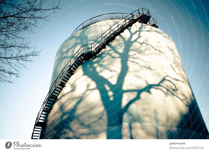 refuel naturally Energy industry Tank Cloudless sky Beautiful weather Winter Stairs Warmth Surrealism Moody Change Shadow play Time Illusion Vignetting Abstract