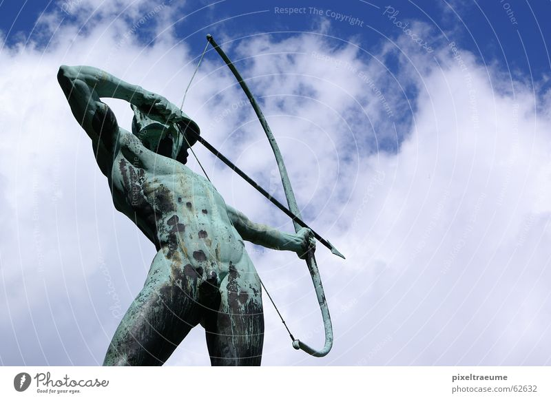 Man Old Sky Clouds Naked Dresden Arrow Past Sculpture Agree Musculature Aim Arch Shoot Archer