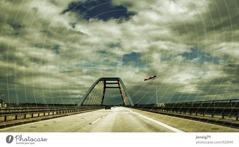 Clouds Street Car Wind Transport Bridge Driving Highway Vehicle Bridge railing Crash barrier Windsock
