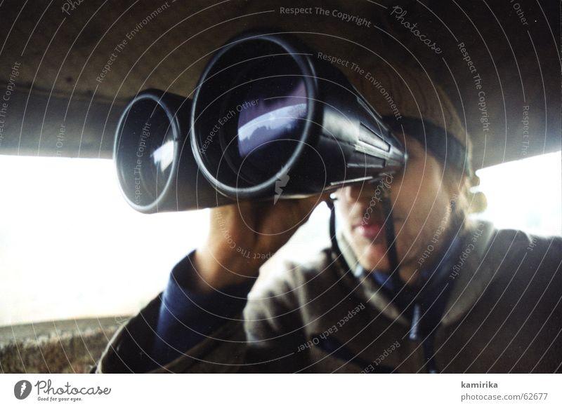 Far-off places Wild animal Search Observe Hunting Wanderlust Hunter Lens Find Binoculars Hunting Blind Enlarged Emotions Deerstalking