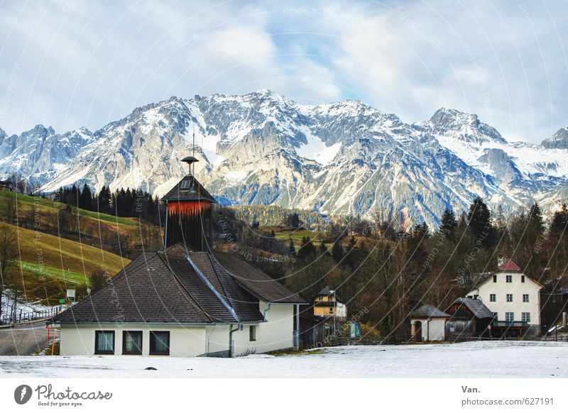 Holiday greetings from Austria Nature Landscape Sky Clouds Winter Beautiful weather Snow Tree Grass Field Rock Alps Mountain Peak Snowcapped peak Village