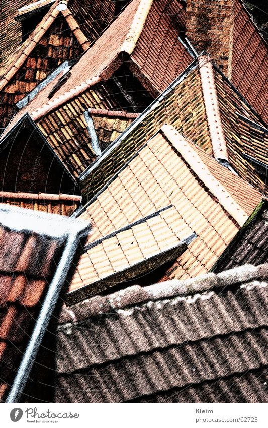 Roofs, roofs, gables, old town of Quedlinburg Old town Building Stone Red Arrangement Roofing tile World heritage Saxony-Anhalt Half-timbered facade Germany