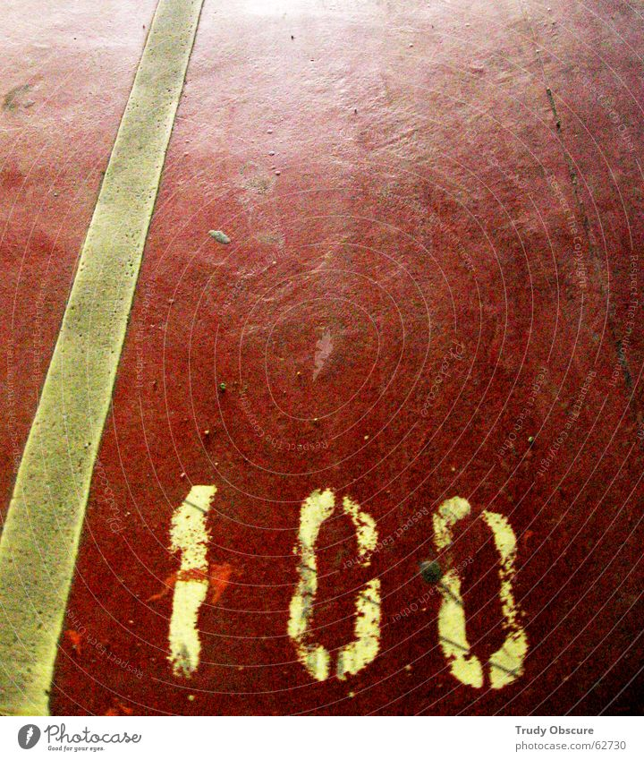 postcard no. 100 Surface Concrete Dust Footprint Parking lot Garage Underground garage Parking garage Parking space number Digits and numbers Red White