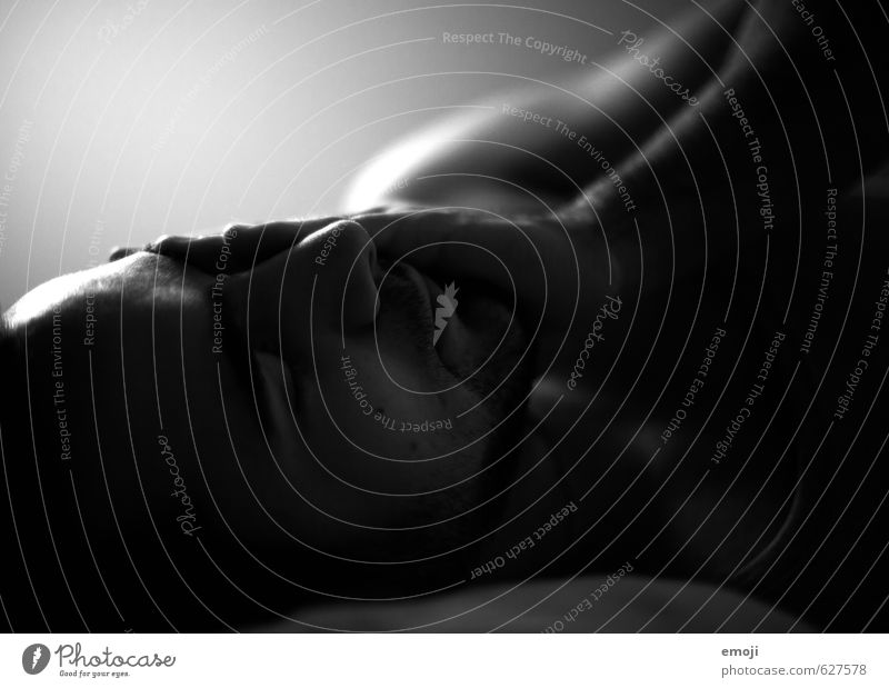 Rest after the storm Masculine Young man Youth (Young adults) Head Face 1 Human being Lie Sleep Dark Fatigue Black & white photo Interior shot Close-up Night