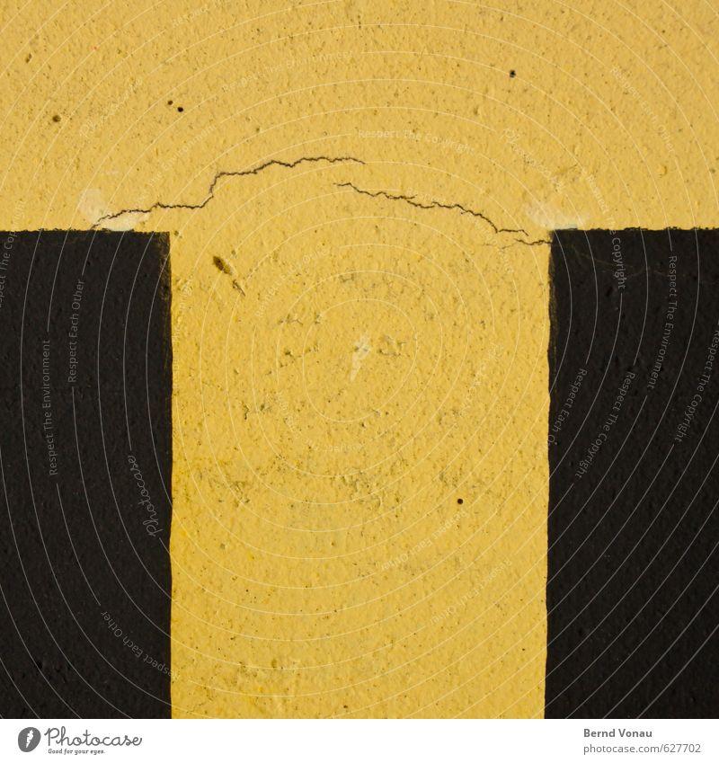 Old Colour Yellow Wall (building) Line Brown Facade Bridge Break Letters (alphabet) Crack & Rip & Tear Plaster Rough Rectangle Breakage