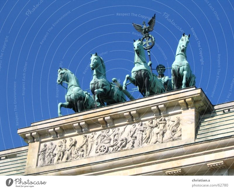 Four of them. Horse Relief Unter den Linden Pariser Platz Europe Horse-drawn carriage Eagle Bronze Green Landmark Art Sky Brandenburg Gate Germany Berlin Town