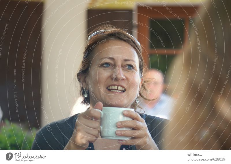 meeting with friends - laughing mature woman with coffee cup Hot Chocolate Coffee Cup Joy Happy Restaurant Going out To have a coffee Woman Adults Head Hand
