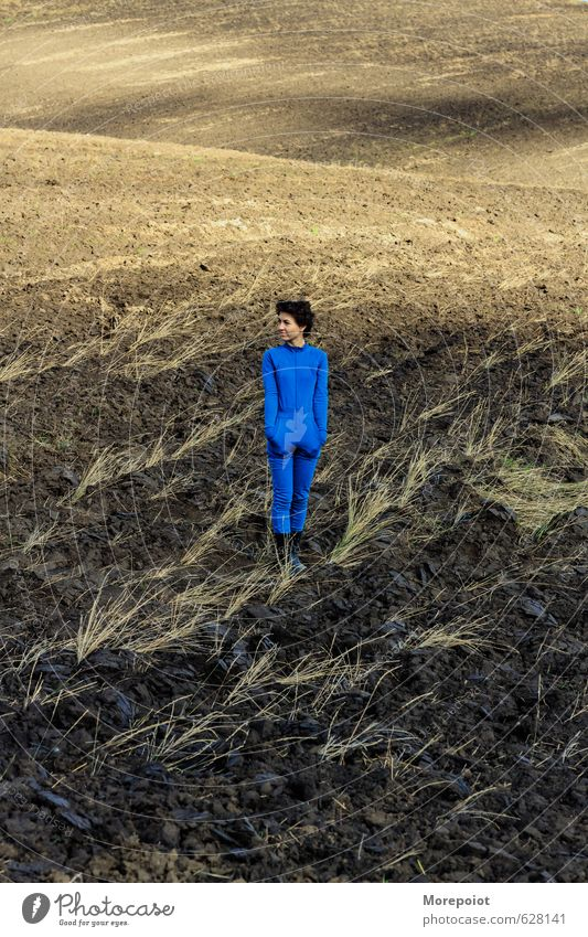 * Human being Nature Youth (Young adults) Blue Young woman Landscape 18 - 30 years Adults Feminine Natural Moody Brown Sand Field Wild Earth