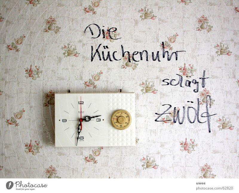 The kitchen clock beats twelve Kitchen Clock 12 Wall (building) Wallpaper Communication Text Installations Clock hand artwork