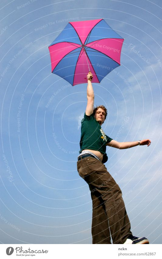 Monstrous Flight Object Umbrella Summer Pink Magenta Cyan Ease Light heartedness Good mood Clouds Disaster Airplane UFO Corner T-shirt Sky Flying Aviation Blue