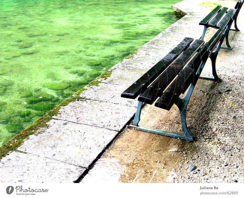 Wet park bench Calm Water Coast Lake Wood Sit Loneliness Bench unprotected Colour photo Multicoloured Exterior shot Deserted Copy Space right Copy Space top Day