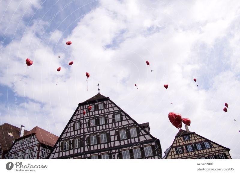 Heart Balloon Baden-Wuerttemberg Old town Half-timbered house Schwäbisch Hall