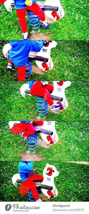 I don't know ... Playground Leisure and hobbies Tennis Seesaw Red Green White Go up Descent Grass Flower Joy Lawn Blue Movement Ball Lomography