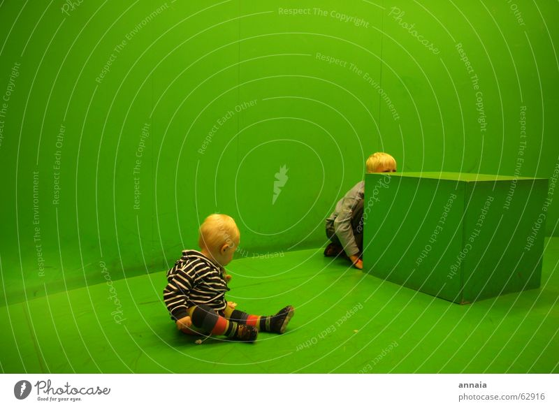 Child Green Room Blonde Study Curiosity Discover Hide Living room Cube Striped Hiding place