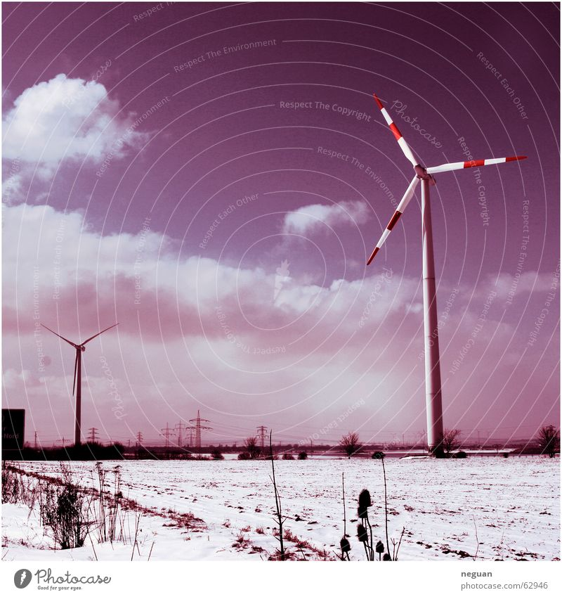 Far-off places Snow Landscape Wind energy plant