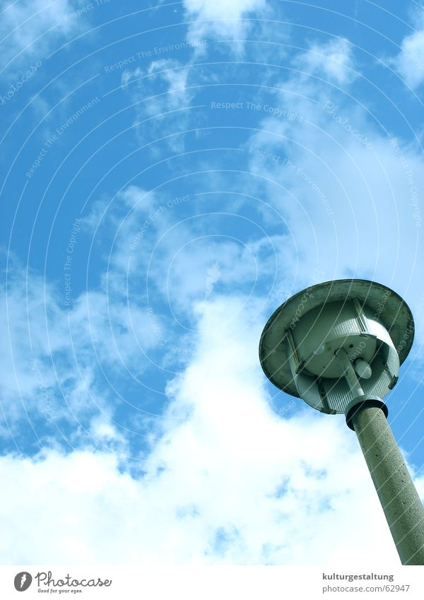 Sky Summer Clouds Street Lamp Perspective Cool (slang) Fantastic Street lighting Electricity pylon GDR Strange East
