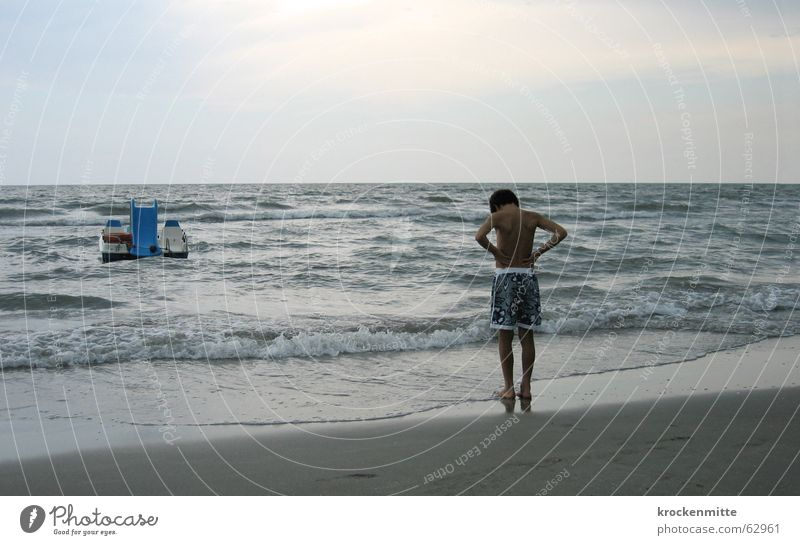 Child Water Ocean Beach Vacation & Travel Calm Boy (child) Sand Watercraft Waves Coast Wait Italy Concentrate Task