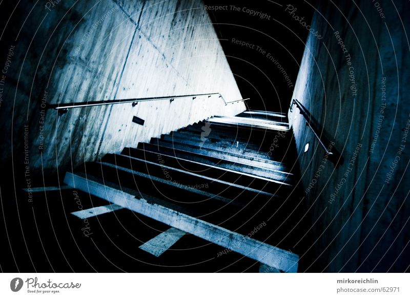 The stairs Dark Eerie Blue tone Blue tint Night Stairs Handrail Lanes & trails feared Fear departure bigway Empty