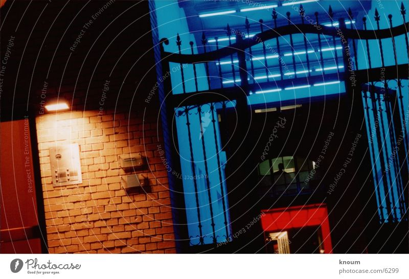 Blue Red Colour Berlin Farm Entrance Photographic technology Lighting installation