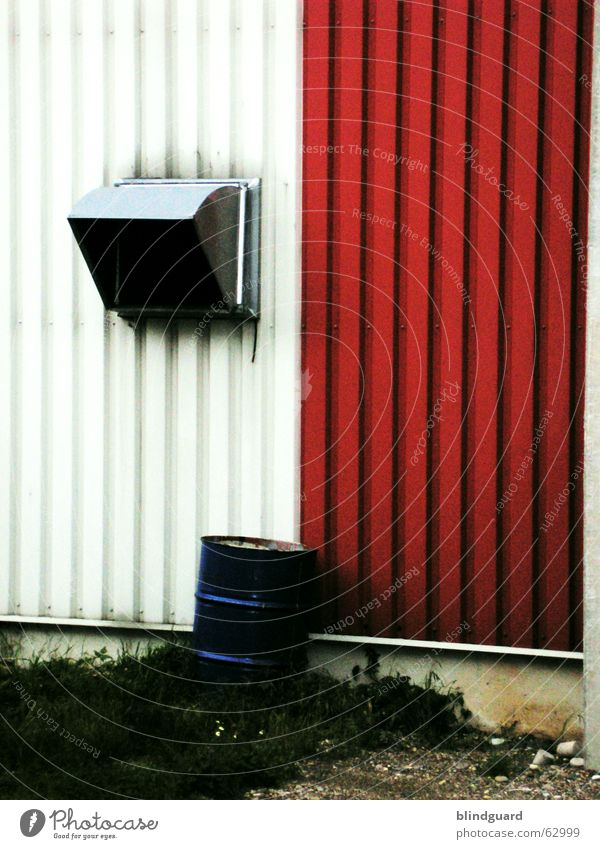Variations in Sheet metal Production Keg Ventilation Backyard Wall (building) Warehouse Red White Building rubble Industrial Photography Storage Blue