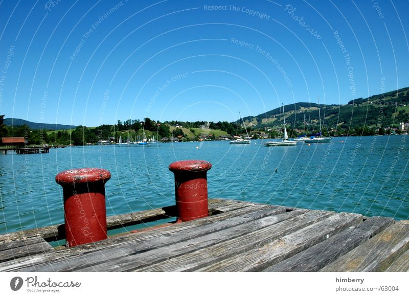 moon lake Lake Paradise Austria Summer Footbridge Watercraft Sailboat Summer vacation Landscape summer sports Float in the water